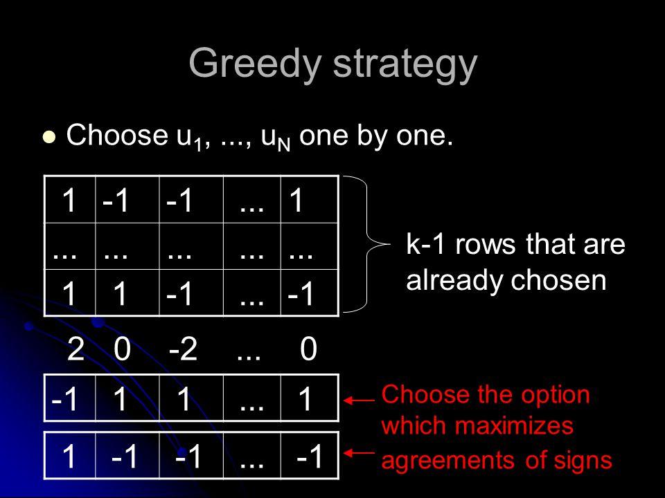 Greedy strategy Choose u 1,..., u N one by one. 1...1 1 1... k-1 rows that are already chosen 2 0 -2... 0 1 1... 1 1... Choose the option which maximi