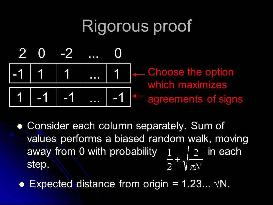 Rigorous proof Consider each column separately. Sum of values performs a biased random walk, moving away from 0 with probability in each step. 1 1...
