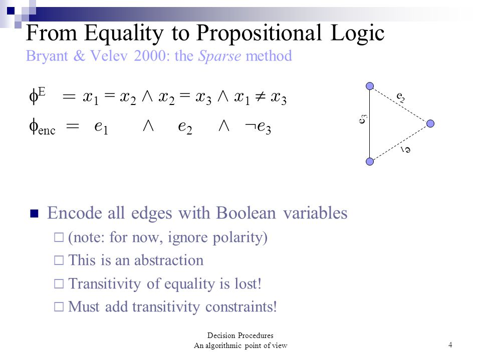 Decision Procedures An algorithmic point of view4 From Equality to Propositional Logic Bryant & Velev 2000: the Sparse method  E = x 1 = x 2 Æ x 2 =