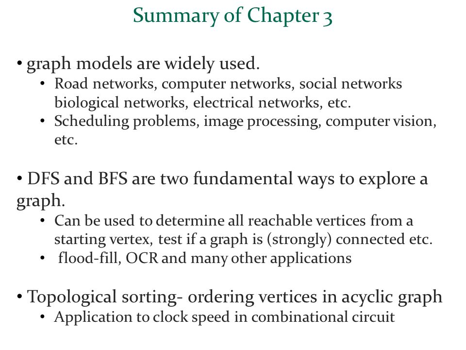 Summary of Chapter 3 graph models are widely used. Road networks, computer networks, social networks biological networks, electrical networks, etc. Sc