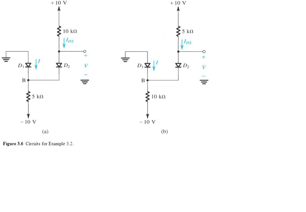 Figure 3.6 Circuits for Example 3.2.