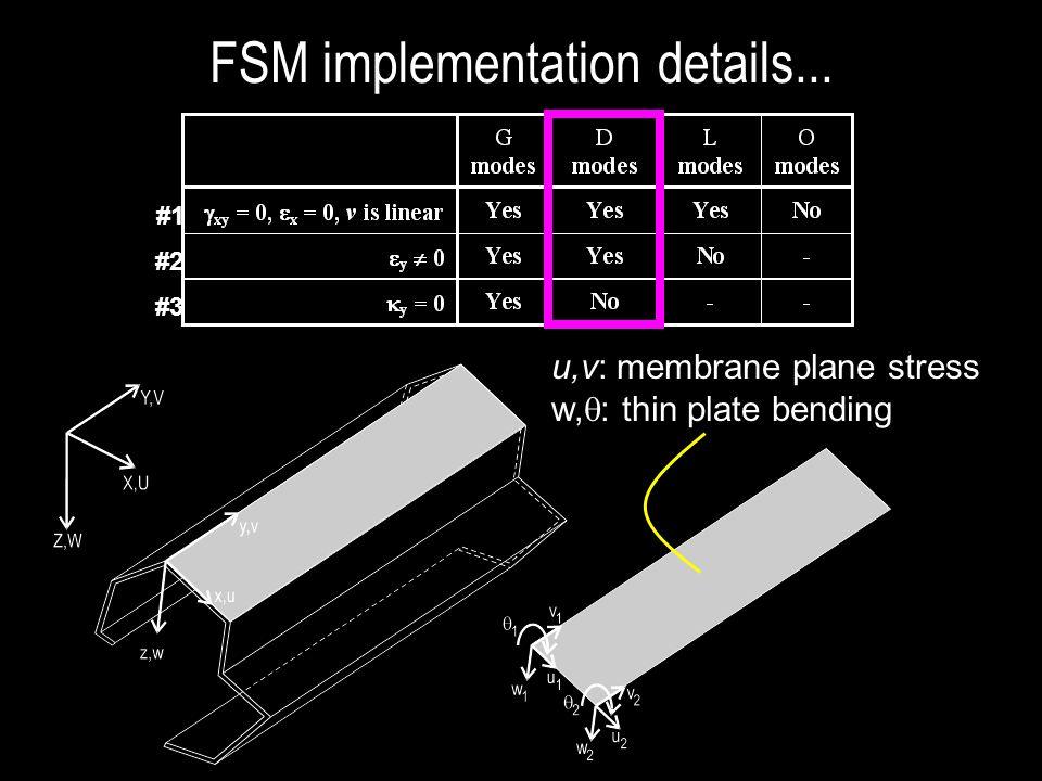 #1 #2 #3 u,v: membrane plane stress w,  : thin plate bending FSM implementation details...
