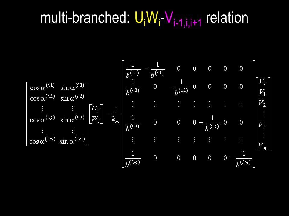 multi-branched: U i W i -V i-1,i,i+1 relation