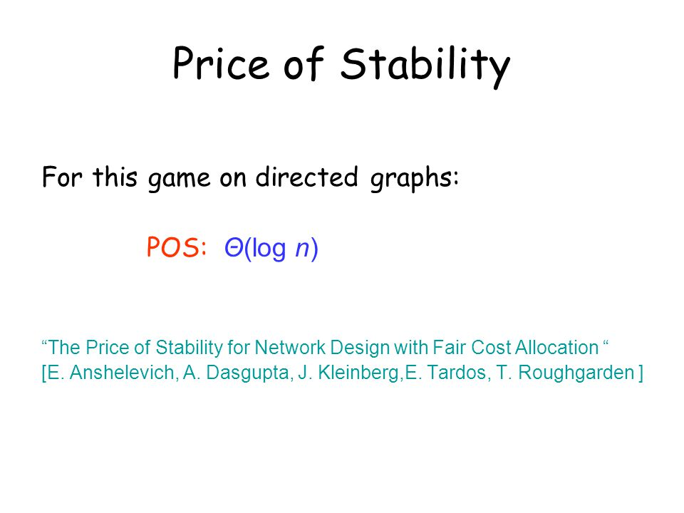 For this game on directed graphs: POS: Θ(log n) The Price of Stability for Network Design with Fair Cost Allocation [E.