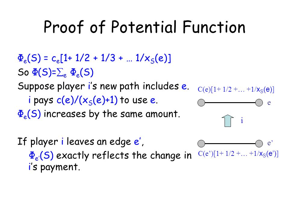 Proof of Potential Function Ф e (S) = c e [1+ 1/2 + 1/3 + … 1/x S (e)] So Ф(S)=  e Ф e (S) Suppose player i's new path includes e.