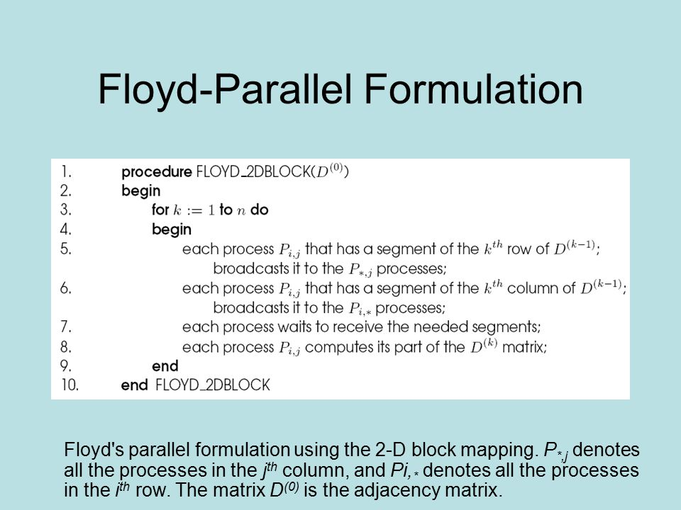 Floyd-Parallel Formulation Floyd's parallel formulation using the 2-D block mapping. P *,j denotes all the processes in the j th column, and Pi, * den