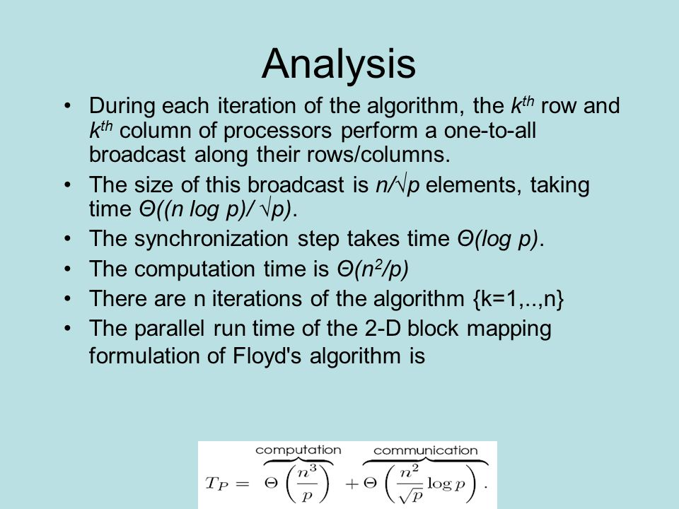 Analysis During each iteration of the algorithm, the k th row and k th column of processors perform a one-to-all broadcast along their rows/columns.