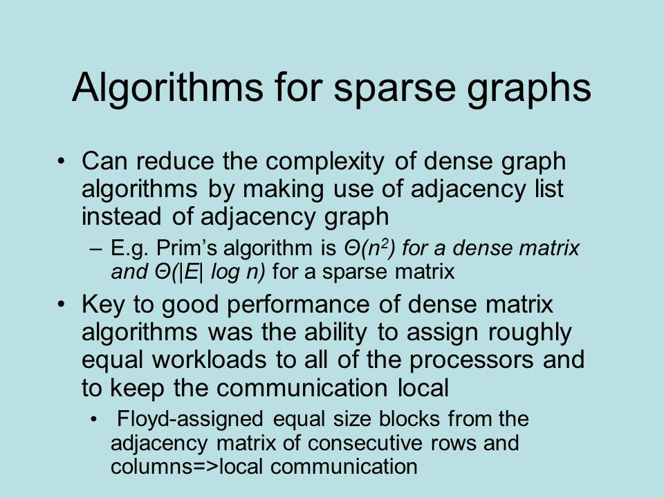 Algorithms for sparse graphs Can reduce the complexity of dense graph algorithms by making use of adjacency list instead of adjacency graph –E.g. Prim