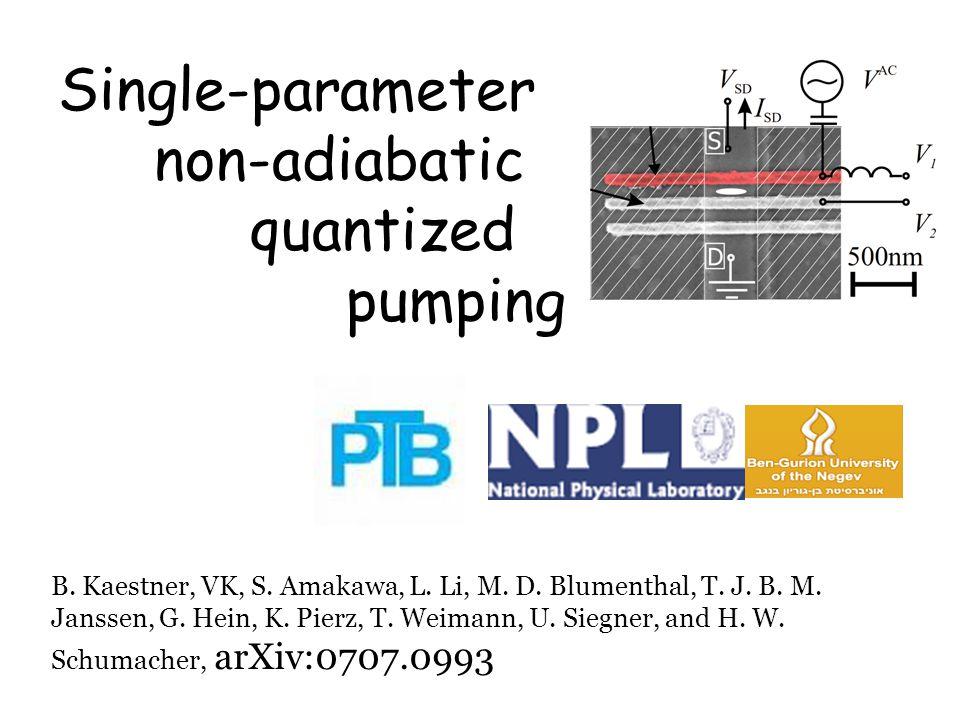 Single-parameter non-adiabatic quantized pumping B.