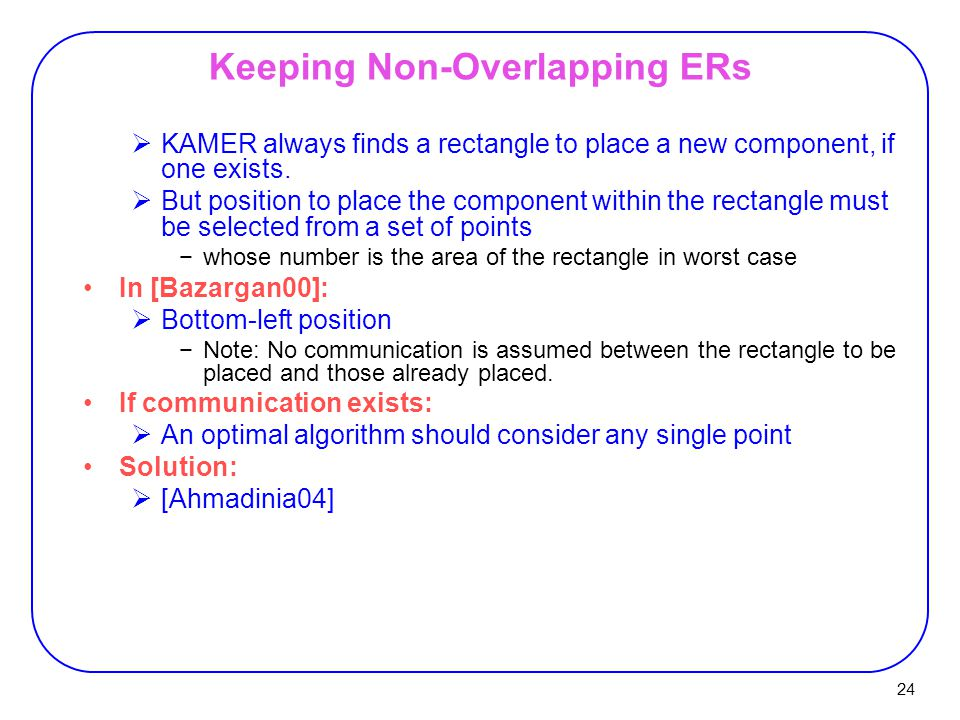 24 Keeping Non-Overlapping ERs  KAMER always finds a rectangle to place a new component, if one exists.  But position to place the component within