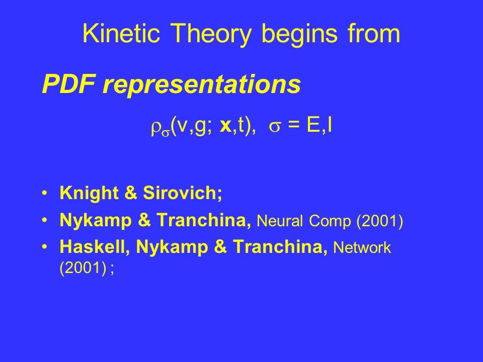 Kinetic Theory begins from PDF representations   (v,g; x,t),  = E,I Knight & Sirovich; Nykamp & Tranchina, Neural Comp (2001) Haskell, Nykamp & Tranchina, Network (2001) ;