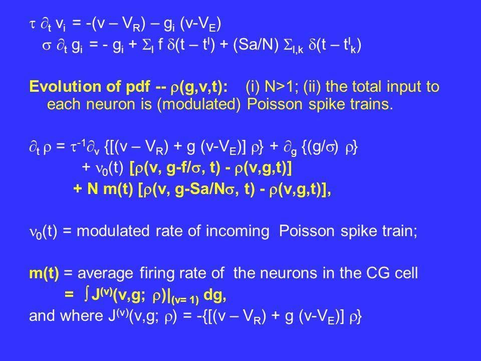   t v i = -(v – V R ) – g i (v-V E )   t g i = - g i +  l f  (t – t l ) + (Sa/N)  l,k  (t – t l k ) Evolution of pdf --  (g,v,t): (i) N>1; (ii) the total input to each neuron is (modulated) Poisson spike trains.