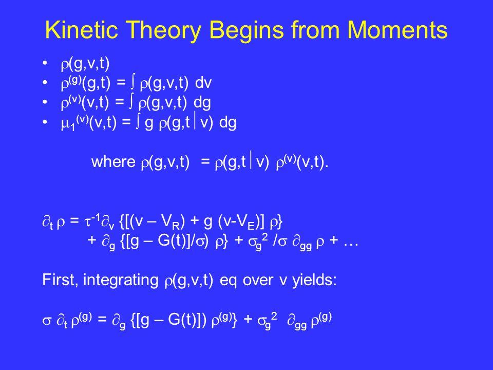Kinetic Theory Begins from Moments  (g,v,t)  (g) (g,t) =   (g,v,t) dv  (v) (v,t) =   (g,v,t) dg  1 (v) (v,t) =  g  (g,t  v) dg where  (g,v,t) =  (g,t  v)  (v) (v,t).