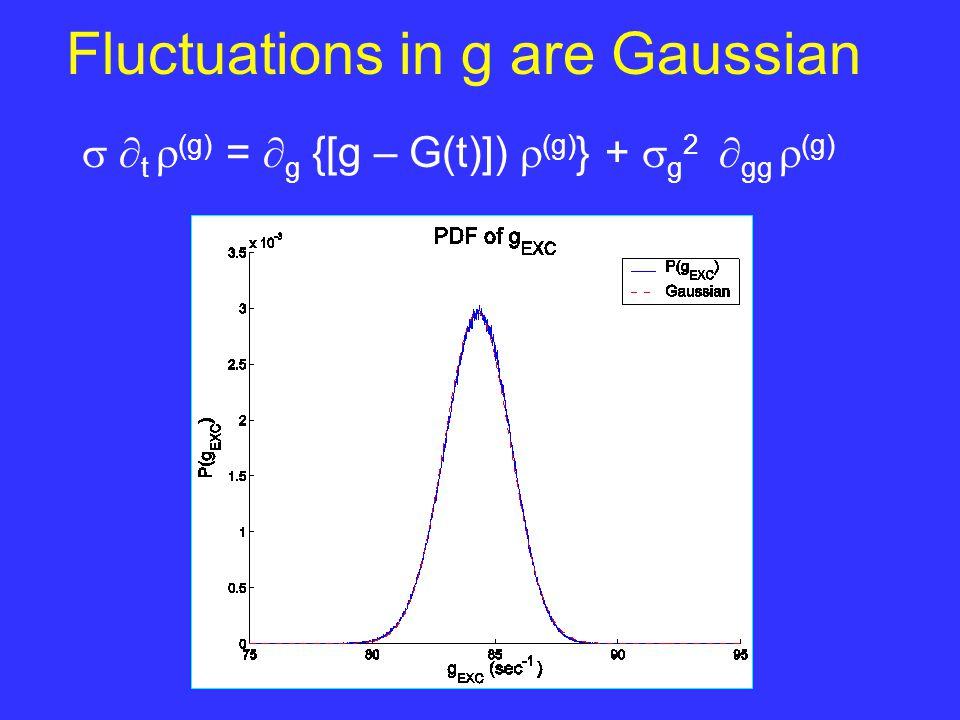 Integrating  (g,v,t) eq over g yields:  t  (v) =  -1  v [(v – V R )  (v) +  1 (v) (v-V E )  (v) ] Integrating [g  (g,v,t)] eq over g yields an equation for  1 (v) (v,t) =  g  (g,t  v) dg, where  (g,v,t) =  (g,t  v)  (v) (v,t)