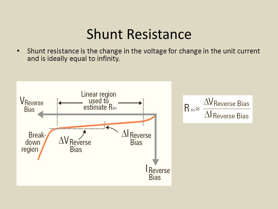 Shunt Resistance Shunt resistance is the change in the voltage for change in the unit current and is ideally equal to infinity.