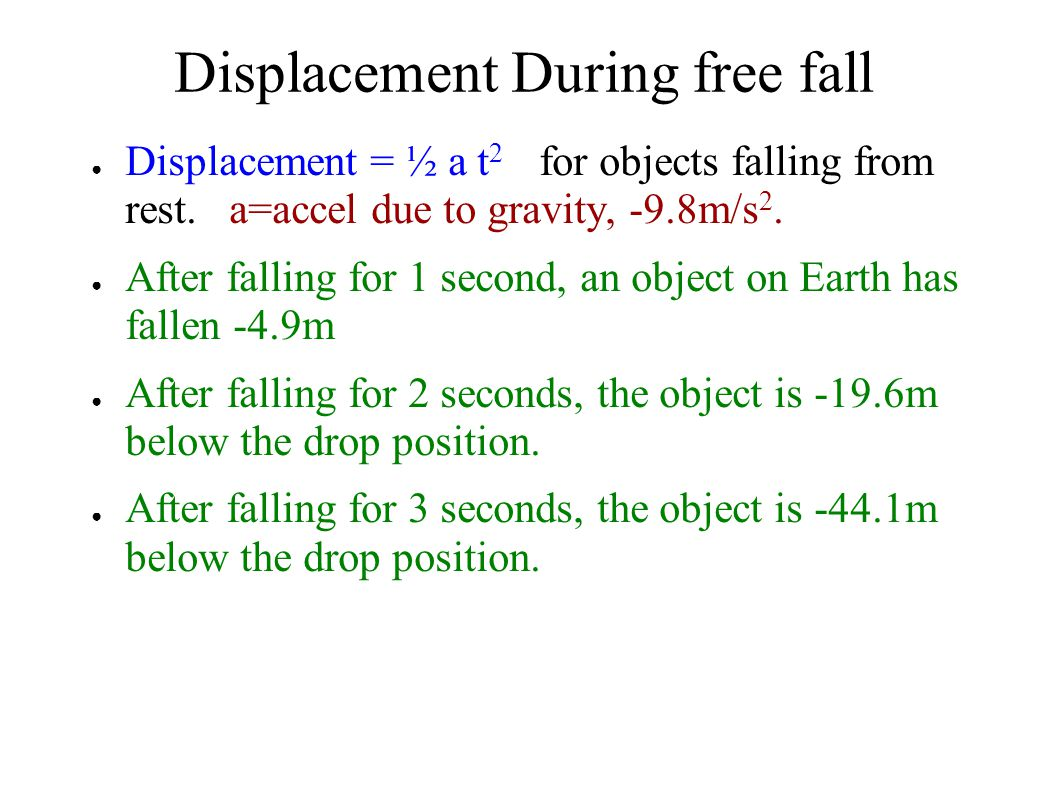Displacement During free fall ● Displacement = ½ a t 2 for objects falling from rest. a=accel due to gravity, -9.8m/s 2. ● After falling for 1 second,