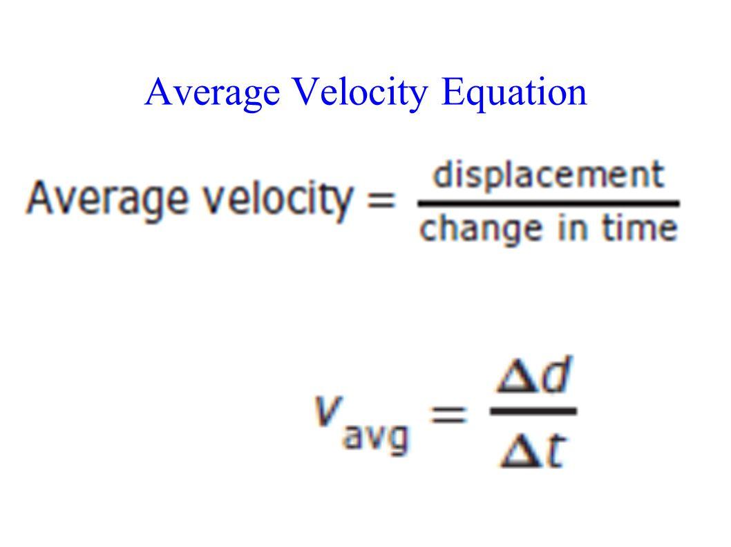 Average Velocity Equation Vavg=