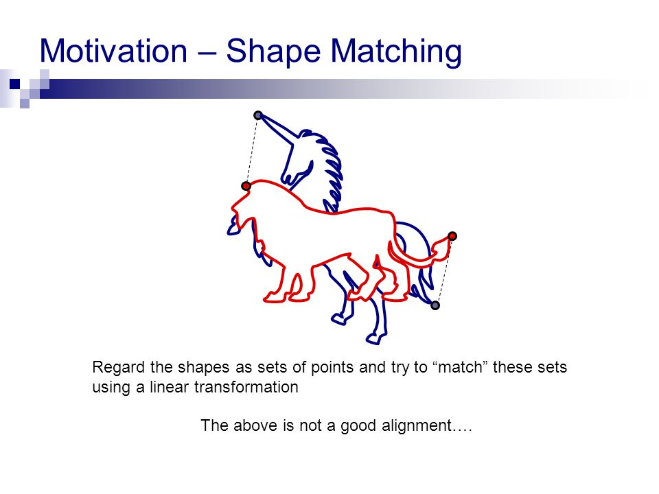 "Motivation – Shape Matching The above is not a good alignment…. Regard the shapes as sets of points and try to ""match"" these sets using a linear trans"