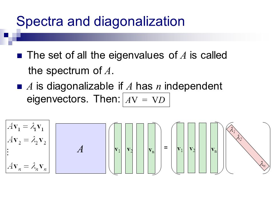 Spectra and diagonalization The set of all the eigenvalues of A is called the spectrum of A. A is diagonalizable if A has n independent eigenvectors.