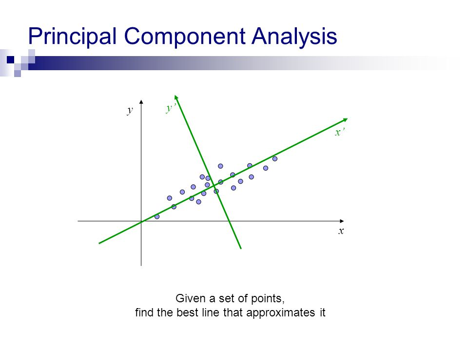 Principal Component Analysis x y x' y' Given a set of points, find the best line that approximates it