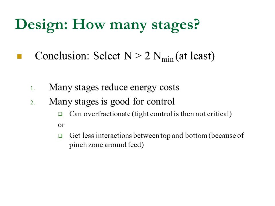 Design: How many stages.Conclusion: Select N > 2 N min (at least) 1.