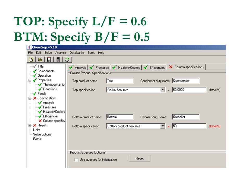 TOP: Specify L/F = 0.6 BTM: Specify B/F = 0.5