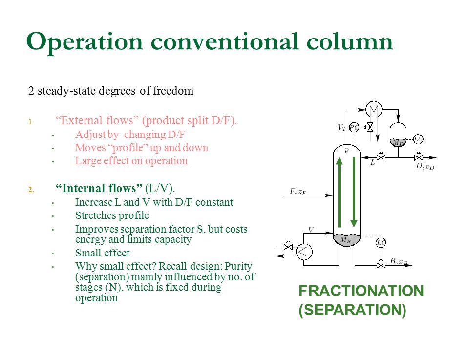 "Operation conventional column 2 steady-state degrees of freedom 1. ""External flows"" (product split D/F). Adjust by changing D/F Moves ""profile"" up and"
