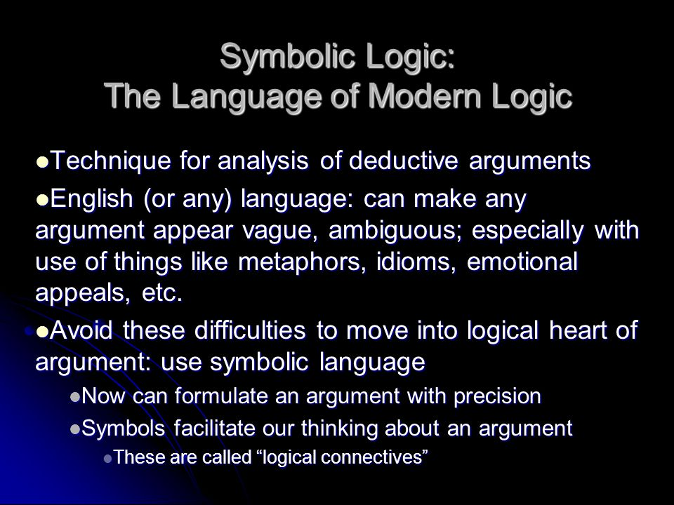 Symbolic Logic: The Language of Modern Logic Technique for analysis of deductive arguments Technique for analysis of deductive arguments English (or a