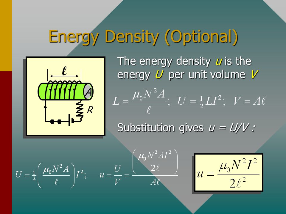Example 3: What is the potential energy stored in a 0.3 H inductor if the current rises from 0 to a final value of 2 A? U = 0.600 J This energy is equ