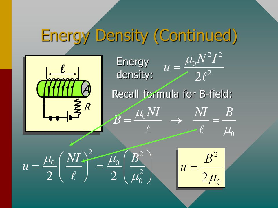 Energy Density (Optional) R l A The energy density u is the energy U per unit volume V Substitution gives u = U/V :
