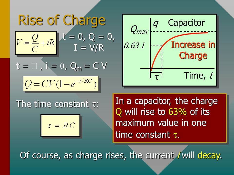 The R-C Circuit R C S2S2 S1S1 V E Close S 1. Then as charge Q builds on capacitor C, a back emf E results: i V – E = iR Initially, Q/C is small, makin