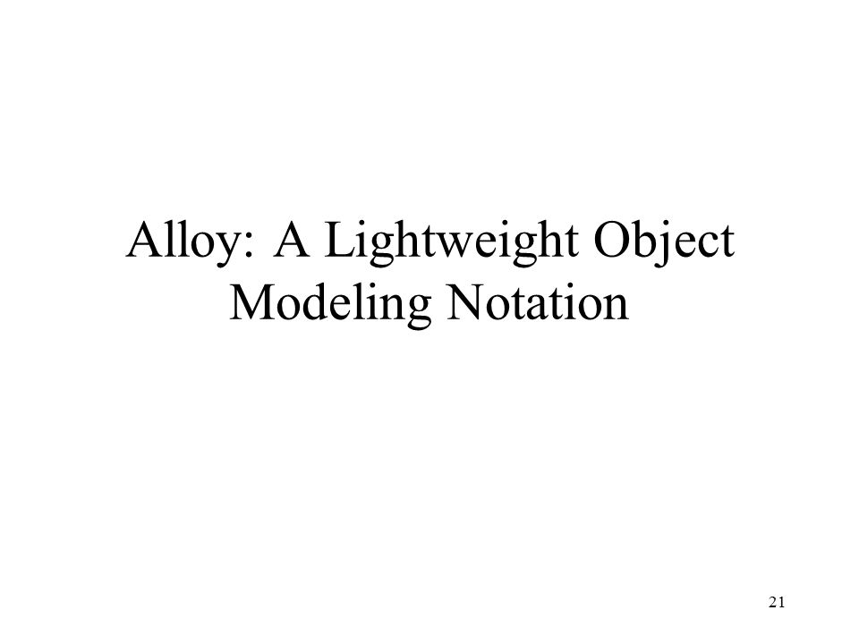 21 Alloy: A Lightweight Object Modeling Notation