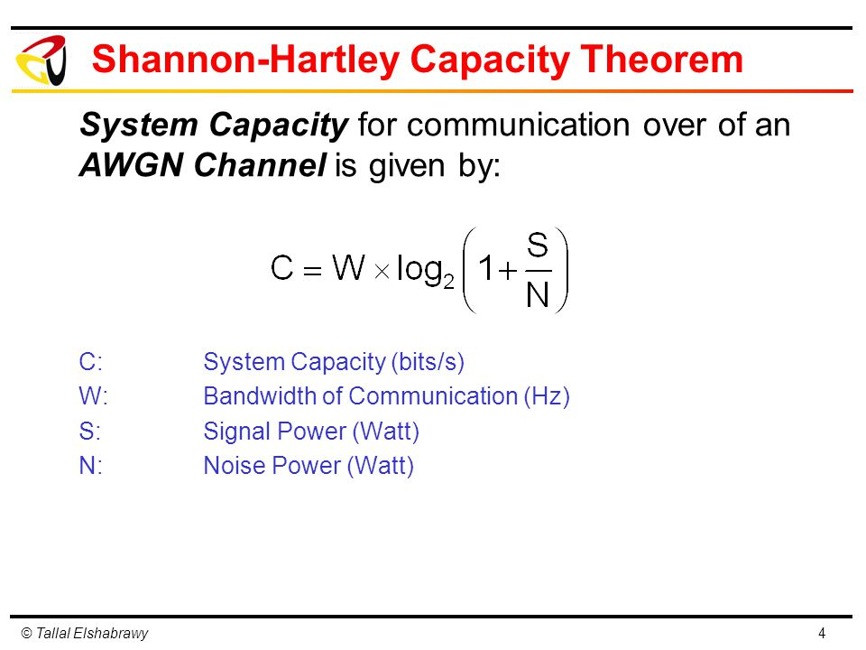 © Tallal Elshabrawy Shannon-Hartley Capacity Theorem C:System Capacity (bits/s) W:Bandwidth of Communication (Hz) S:Signal Power (Watt) N:Noise Power (Watt) 4 System Capacity for communication over of an AWGN Channel is given by: