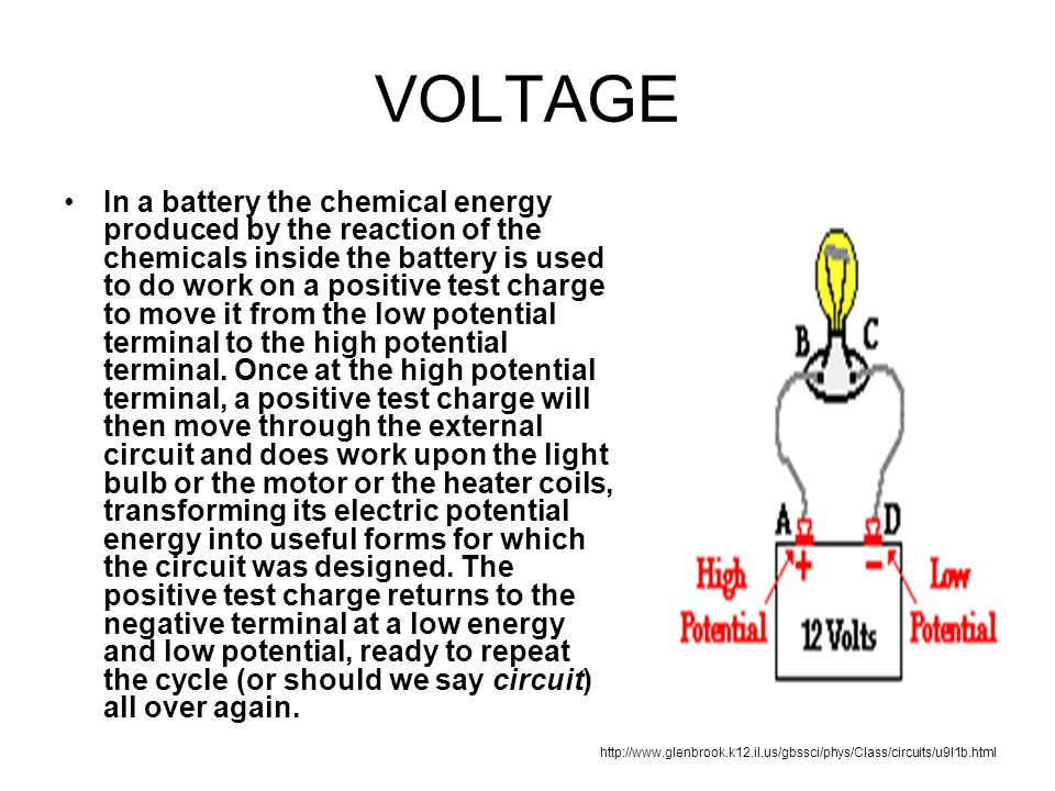 VOLTAGE In a battery the chemical energy produced by the reaction of the chemicals inside the battery is used to do work on a positive test charge to move it from the low potential terminal to the high potential terminal.