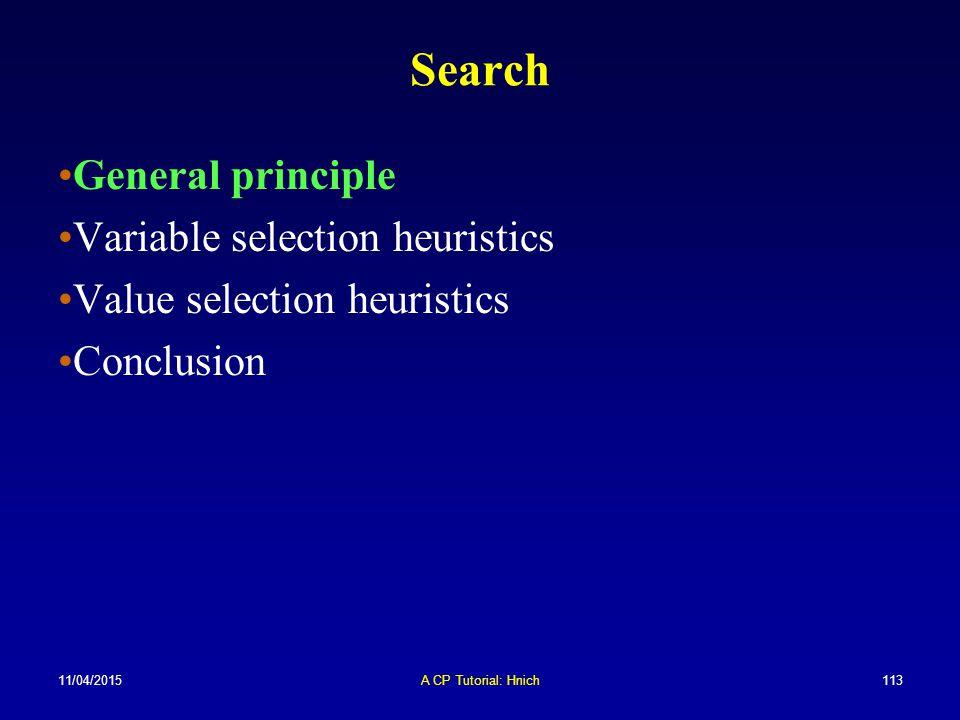 11/04/2015A CP Tutorial: Hnich113 Search General principle Variable selection heuristics Value selection heuristics Conclusion