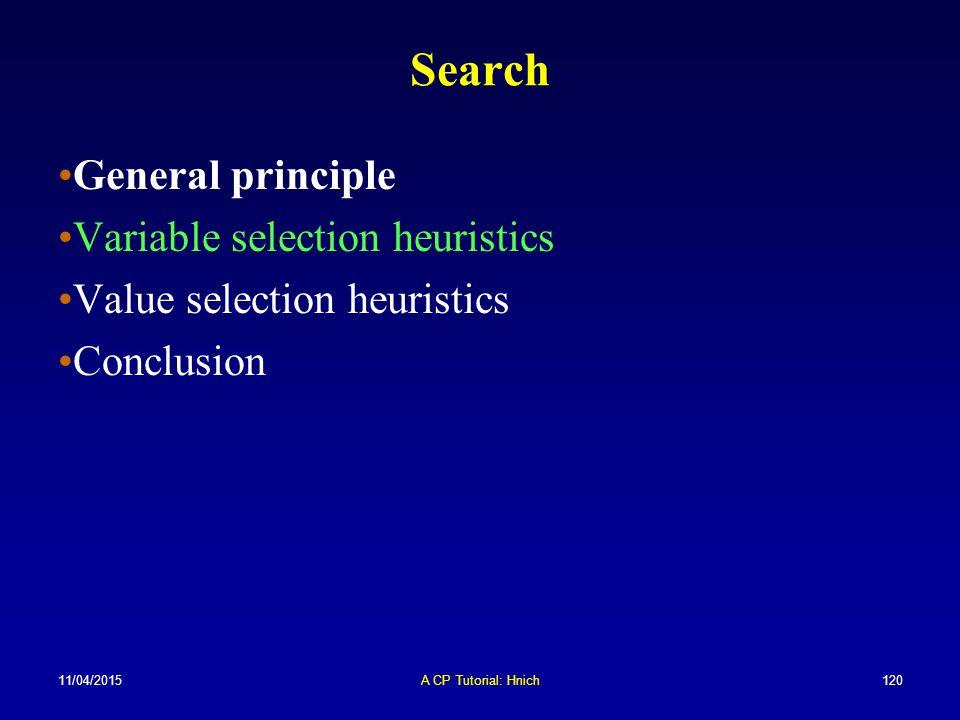 11/04/2015A CP Tutorial: Hnich120 Search General principle Variable selection heuristics Value selection heuristics Conclusion