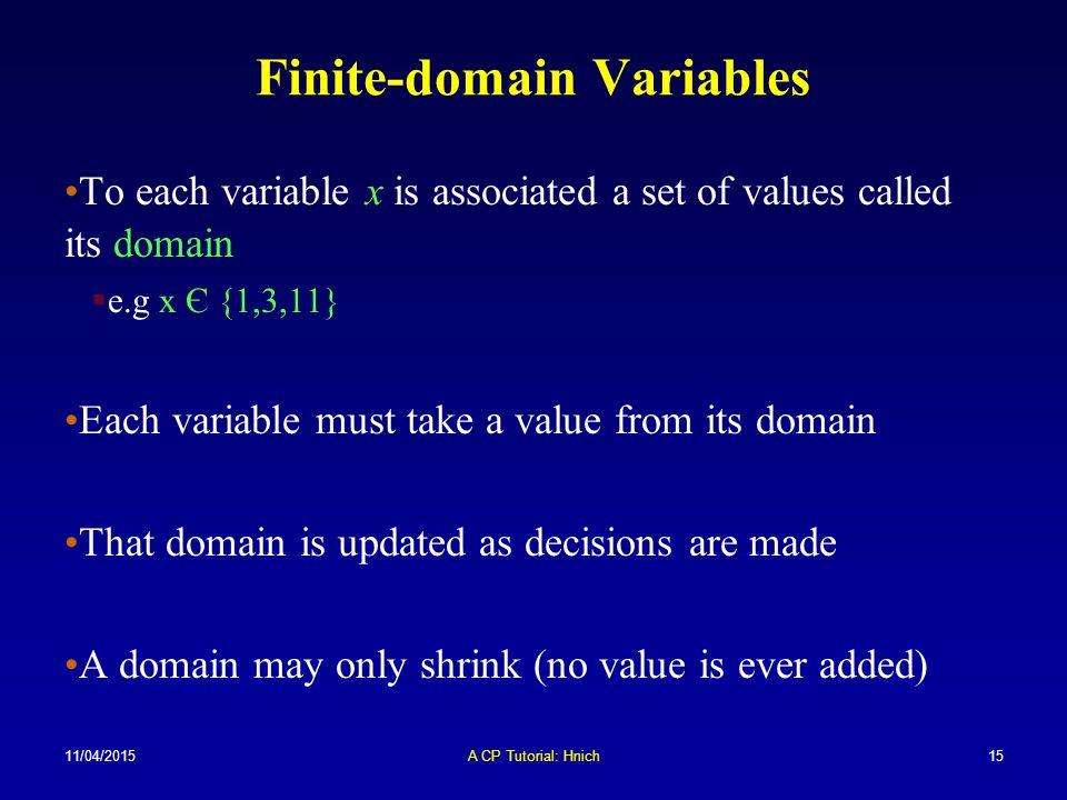 11/04/2015A CP Tutorial: Hnich15 Finite-domain Variables To each variable x is associated a set of values called its domain  e.g x Є {1,3,11} Each va