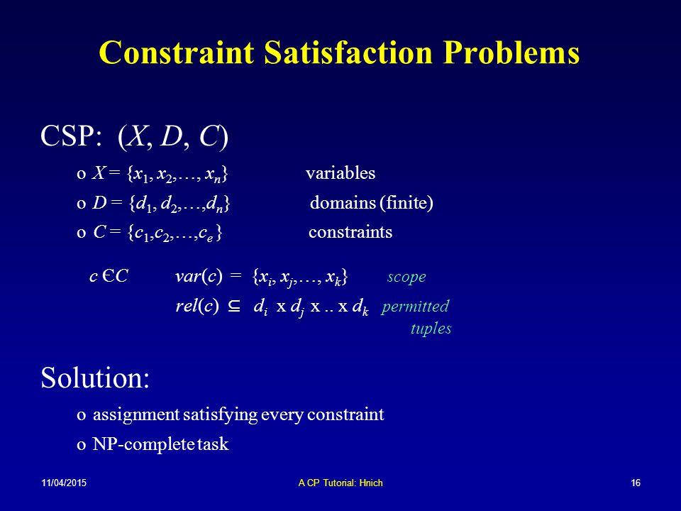 11/04/2015A CP Tutorial: Hnich16 Constraint Satisfaction Problems CSP: (X, D, C) oX = {x 1, x 2,…, x n } variables oD = {d 1, d 2,…,d n } domains (fin