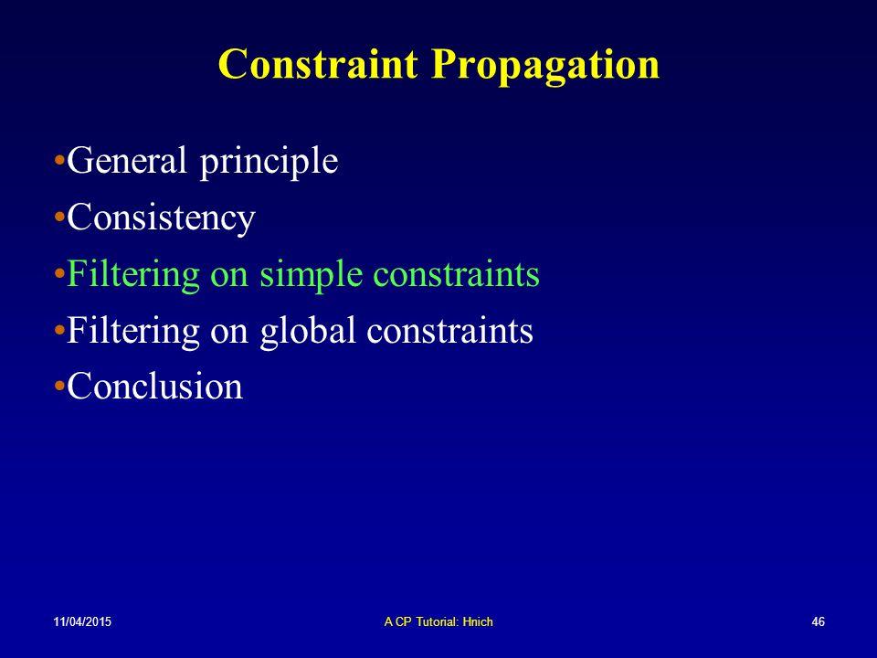 11/04/2015A CP Tutorial: Hnich46 Constraint Propagation General principle Consistency Filtering on simple constraints Filtering on global constraints