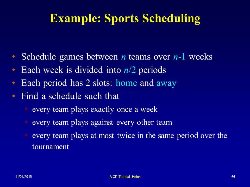11/04/2015A CP Tutorial: Hnich66 Schedule games between n teams over n-1 weeks Each week is divided into n/2 periods Each period has 2 slots: home and