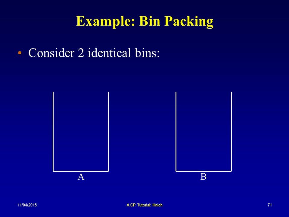 11/04/2015A CP Tutorial: Hnich71 Example: Bin Packing Consider 2 identical bins: BA