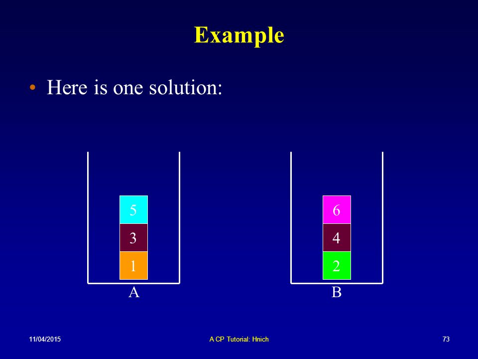 11/04/2015A CP Tutorial: Hnich73 Example Here is one solution: 12 3 65 4 BA