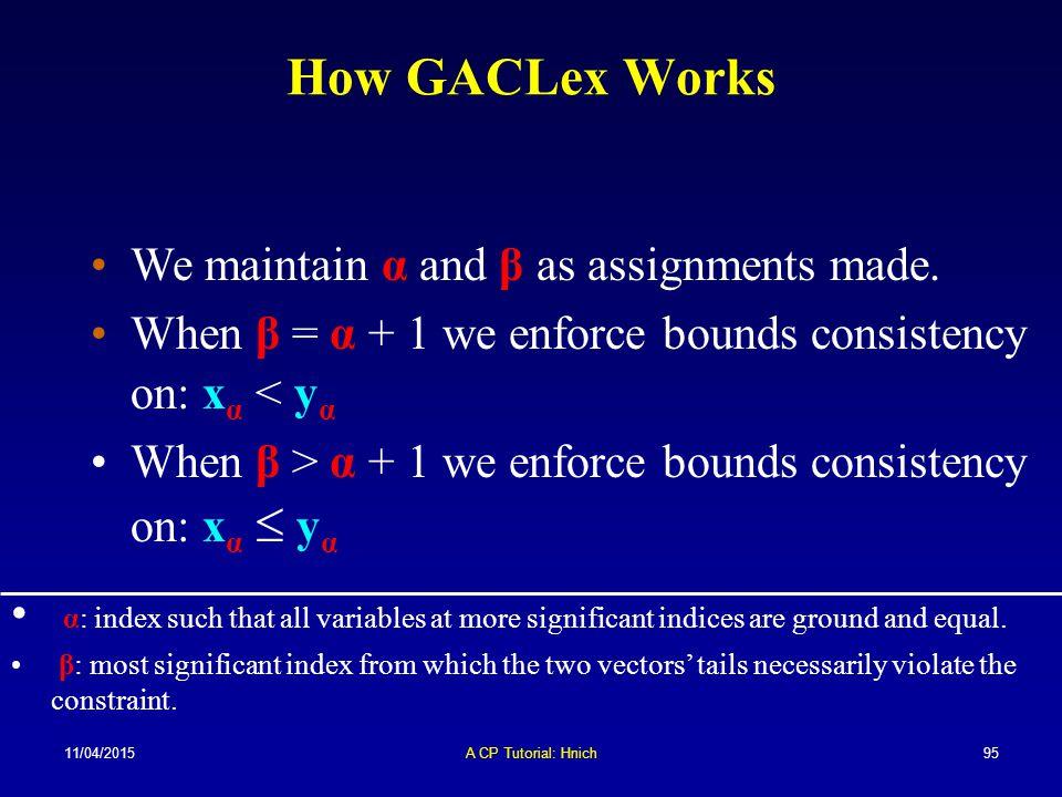 11/04/2015A CP Tutorial: Hnich95 How GACLex Works We maintain α and β as assignments made. When β = α + 1 we enforce bounds consistency on: x α < y α
