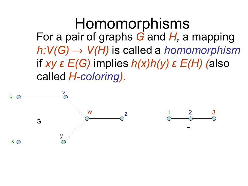 Homomorphisms For a pair of graphs G and H, a mapping h:V(G) → V(H) is called a homomorphism if xy ε E(G) implies h(x)h(y) ε E(H) (also called H-coloring).