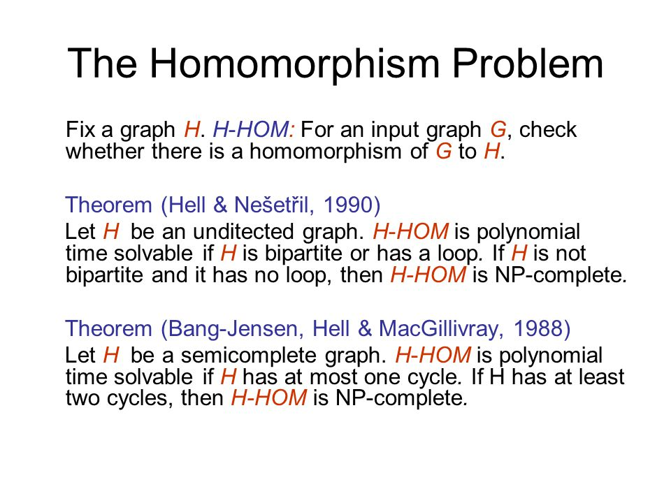 The Homomorphism Problem Fix a graph H.