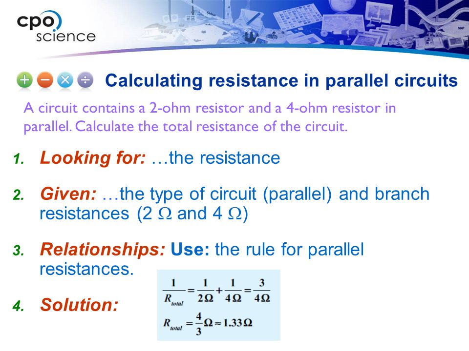 A circuit contains a 2-ohm resistor and a 4-ohm resistor in parallel. Calculate the total resistance of the circuit. Calculating resistance in paralle