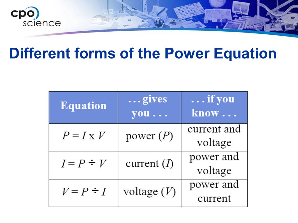 Different forms of the Power Equation