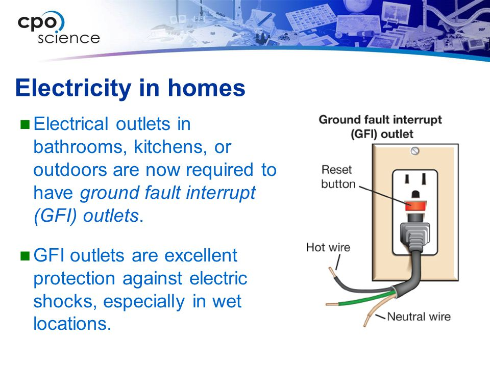 Electricity in homes Electrical outlets in bathrooms, kitchens, or outdoors are now required to have ground fault interrupt (GFI) outlets. GFI outlets