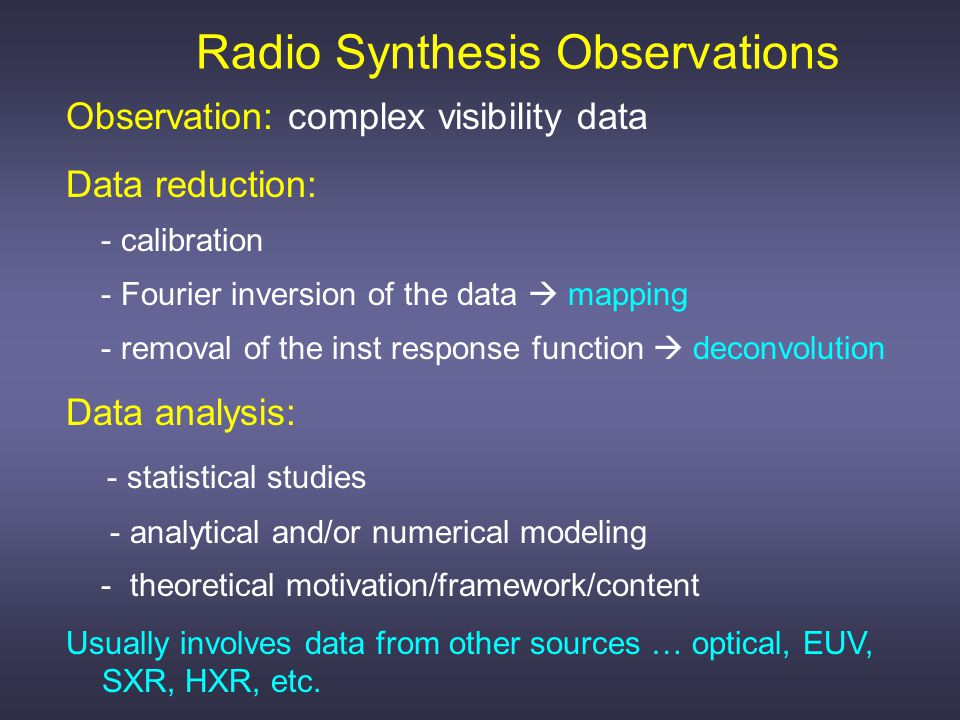 Observation: complex visibility data Data reduction: - calibration - Fourier inversion of the data  mapping - removal of the inst response function  deconvolution Data analysis: - statistical studies - analytical and/or numerical modeling - theoretical motivation/framework/content Usually involves data from other sources … optical, EUV, SXR, HXR, etc.