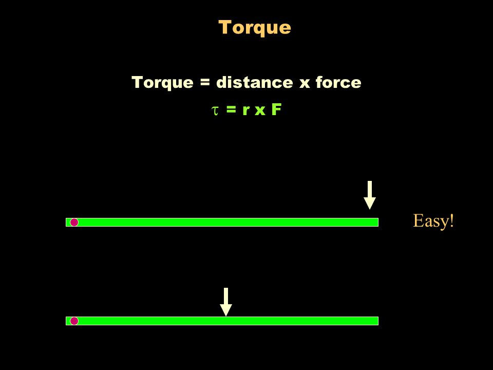 """Torque Torque means the """"turning effect"""" of a force. SAME force applied to both. Which one will turn easier?"""